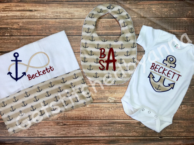 Baby Gift Monogram : Monogrammed baby gift set anchor nautical by getstitchedbyanna