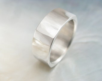 square platinum band -- men's wedding band -- 8mm soft square ring, hand forged