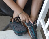 Sale - Big Kids Boot-laced Boots in Gray and  dark turquoise trim - House Shoes - Teens USA size 1-2/EUR sizes 32-33 - 20% off