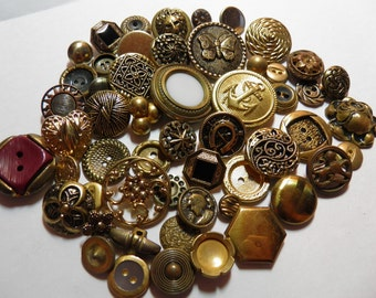Lot of Gold or Brass Color Buttons