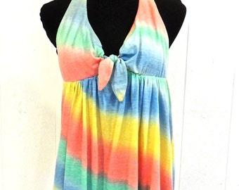 SALE vintage tie-dye bathing suit - 1960s halter one piece swimsuit