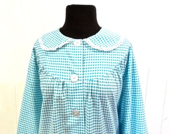vintage gingham robe - 1950s aqua cotton button-front lounge coat