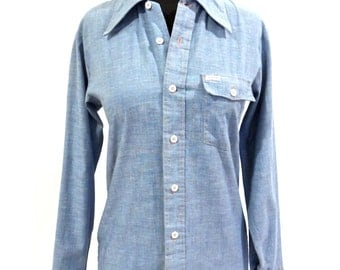 vintage embroidered chambray shirt - 1970s Pinto denim button down top