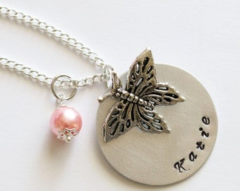 Butterfly Necklace, Butterfly Jewelry, Personalized Necklace, Girl Necklace, Flower Girl Gift, Custom Necklace