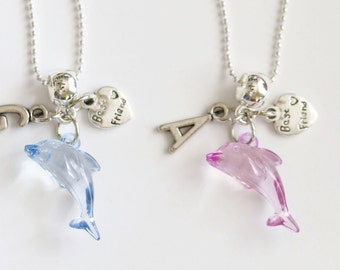 Dolphin Necklace Best Friend Initial Personlized Necklaces, Best Friend Gift, Best Friend Jewelry, BFF Necklace, 2 Necklaces