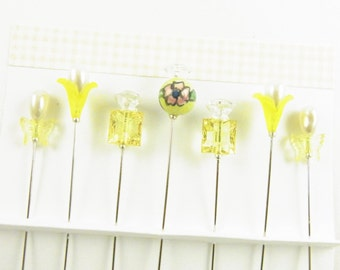 Yellow Decorated Sewing Pins with Ceramic Bead, Butterflies
