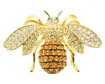 Golden Bee Crystal Bug Pin Brooch 1013001