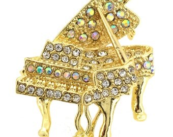 Golden Aurore Boreale Piano Music Crystal Pin Brooch 1001474