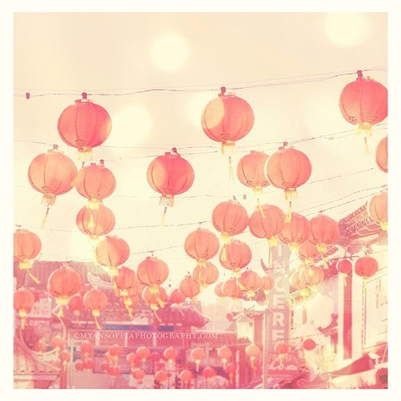 Chinatown photograph, Los Angeles picture, chinese lanterns, red paper lanterns, pink decor, pink art print, asian nursery art, LA photo