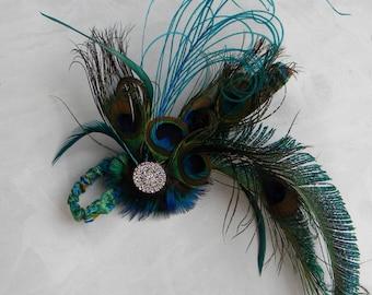 Gorgeous Peacock Feather Flapper Style Fascinator Head Piece, Photo Prop, Hair Accessory, Rhinestone Bling, Sizes Newborn Through Pre-Teen
