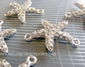 Rhinestone Starfish, 5pcs Silver plated with clear Crystal Rhinestone bracelet Connector, Pendant-25mm