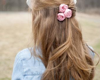 Flower Girl Hair Accessories, Pink Hair Accessory, Ribbon Flower Clip, Bridesmaid Hair, Wedding Hair