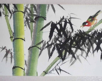 Original Chinese painting-Bamboo and Bird