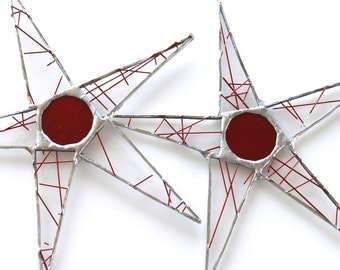 Red Pencil Lead Star- 9 inch stained glass star- clear glass with red glass rods