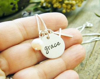 grace hand stamped sterling silver charm