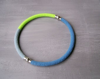 Neon Necklace - Minimalist Crochet Round Bands or Choker with Magnetic Clasps - Versatile Jewelry Two in One