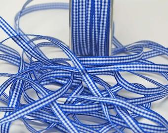 Solid Check Ribbon -- 3/16 inch -- Royal Blue White