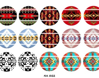 "Set of 15 1"" Digital Bottle Cap Images Native American (NA 1033) Blanket Designs"