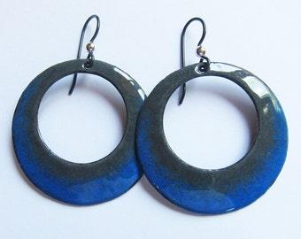 Blue enamel hoop earrings Big round gray and blue dangles Niobium earrings Bohemian jewelry Vitreous enamel