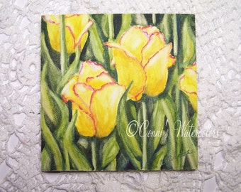 Original Tulip Watercolor Painting- Yellow Tulips- Floral Nature SFA Signed with COA 4 x 4 Flower Garden Art