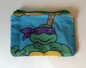 Teenage Mutant Ninja Turtles Zipper Pouch - Small Zip Pouch Coin Purse Wallet - Upcycled made from vintage fabric