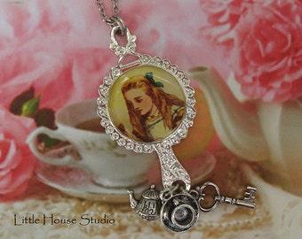 Alice in Wonderland Mirror Statement Necklace, Tea Cup, Tea Pot, Alice in Wonderland Jewelry, Wonderland Jewelry