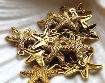 10 Golden Starfish - Perfect for Earrings, charms or Pendants