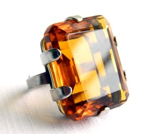 Vintage Sterling Silver Solitaire Amber Topaz Ring - 35 Carats - Emerald Cut - Princess Cut - Adjustable
