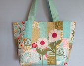 Tote Bag, Aqua Patchwork with Wool Flowers
