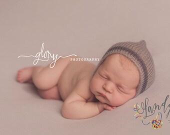 Newborn mohair stripped bonnet.  Newborn photo prop