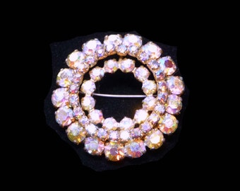 Aurora Borealis Rhinestone Brooch - Vintage Wreath Iridescent Pin - Round Design with AB's