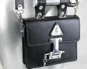 Vintage black leather crossbody bag shoulder evening handbag satchel purse Goth industrial Steampunk unusual unique futuristic statement art