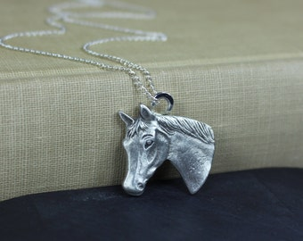 Horse Necklace, Horse Jewelry, Silver Horse Necklace, Horse Lover Gift, Animal Jewelry, Gift For Horse Lover