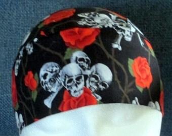 Handmade Black w Orange Roses and Skulls, Skull or Chemo Cap, Hair Loss, Bald, Hat, Motorcycle, Do Rag, Head Wrap, Hair Loss, Helmet Liner