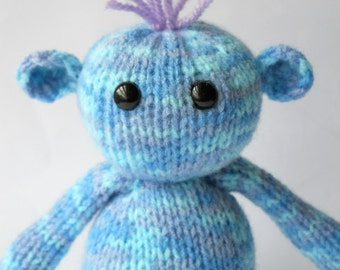 sale, knitted monster,blue monster toy, cute monster doll, knitted toy, plush monster, soft toy monster