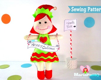 Christmas Elf Sewing Pattern, Elf Doll Pattern, Instant Download A1131