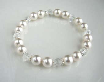 Crystal and White Pearl Bracelet made with Swarovski Elements Crystal Pearls White Pearl Stretch Bracelet Pearl Wedding Bracelet