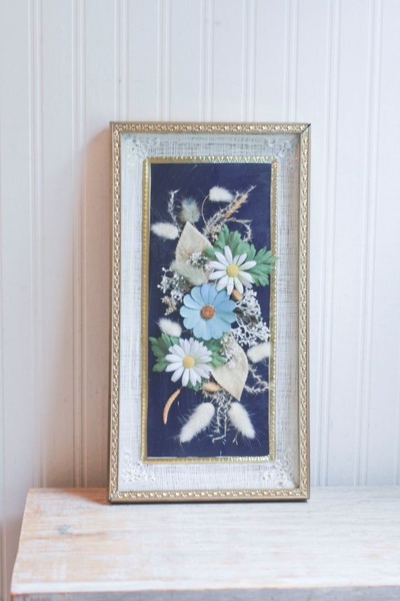 1950s framed hollywood regency wall art daisy flower collage for Hollywood regency wall decor