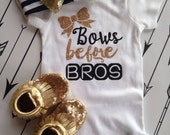Bows before Bros Bodysuit Baby Newborn Shirt Glitter Shirt Birth Announcement Bodysuit New Baby Gift Coming Home Outfit Baby Shower Gift