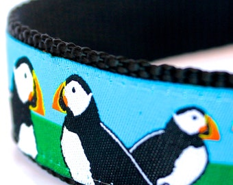 Puffin Dog Collar, 1 inch width, Big Dog Collar, Unique Pet Collar