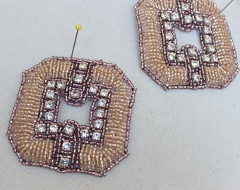 Cute embroidered  and beaded    applique  2   pieces listing