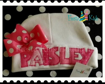 Newborn girl hat with name, personalized baby gifts, girl hat with bow, infant, hospital baby hat, baby beanie