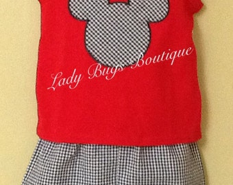 Mickey Mouse short set. Add a name at no extra cost. Ready to ship.*****Please Read Shop Announcement*****