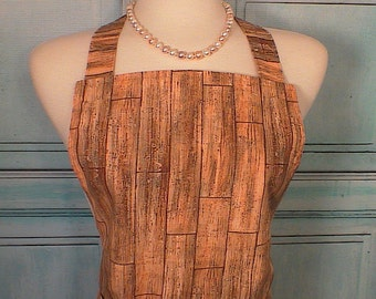 Full Apron Women Wood Grain Ready To Ship! Unisex Fully Lined