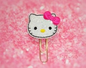 KITTY Glitter Planner Clip in black and hot pink bow