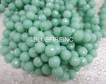 32 pcs12mm round faceted Dyed Pale Green Color Jade beads