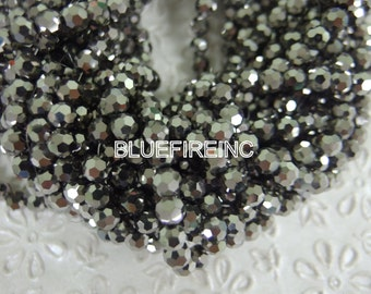 20 inch long Silve  color round Chinese crystal in 6mm