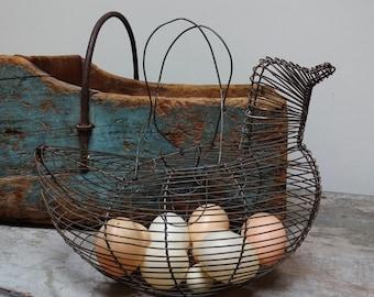 Vintage Antique Handmade Hen Shaped Wire Egg Basket