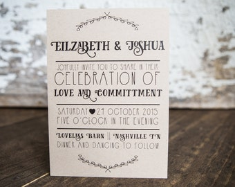 Wedding Invitation, Fun Wedding Invitations, Modern Wedding Invitation -Festive Wedding Suite : A7 Wedding Invitations