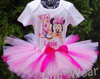 Custom Baby Minnie Mouse polka dot First Birthday Shirt + Tutu Outfit (any age) pink, white with hot pink